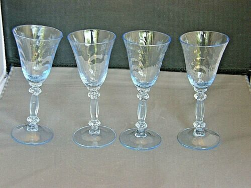 "Set of 4 Wine Stems-Caprice Pattern-Cambridge Glass-Moonlight Blue 5 1/2""-Vtg"