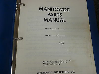 Manitowoc 3900a Dragline Crawler Crane Parts Catalog Manual Book