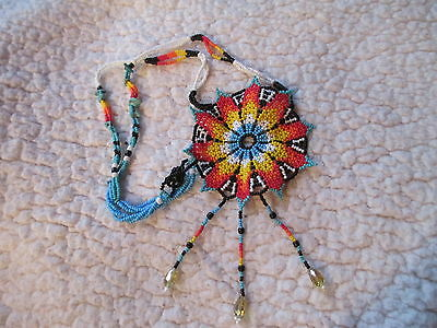 HUICHOL NECKLACE BEADED FLOWER turquoise chips crystals  MEXICAN FOLK ART MEXICO