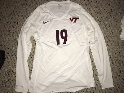 ed71663b959 Nike Virginia Tech Hokies  19 Volleyball White Game Worn Jersey  M
