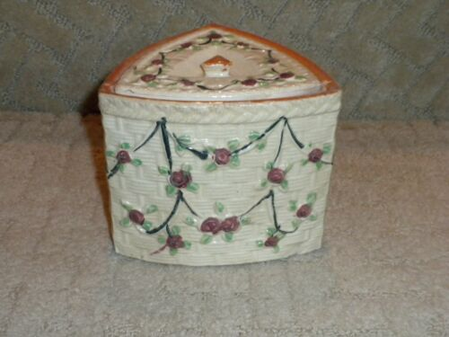 Majolica Basket Weave Roses Pottery Canister Biscuit Jar Japan Hotta Yu Shoten