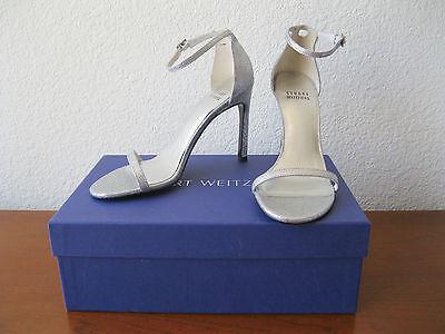 NIB STUART WEITZMAN Silver Mini Glitter NUDISTSONG Ankle Strap Sandal Heels 6 Ankle Strap Mini Heels