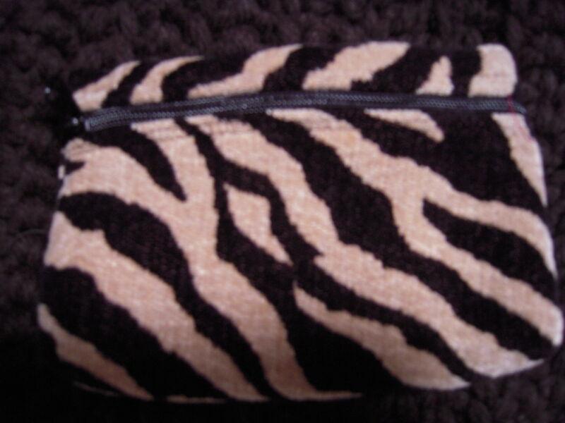 Make-Up Bag Zebra Black & Tan Tapestry NEW by Artisan Treasures