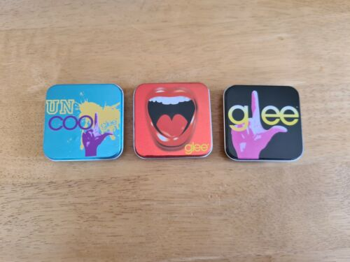 3 USED COLLECTABLE GLEE TINS SUPER GEEK FREE YOUR GLEE SOME SMALL DENTS