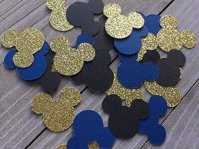 150 Mickey Mouse Confetti, Royal Blue, Black And Gold Glitter, Mickey Birthday (Mickey Mouse Crafts)