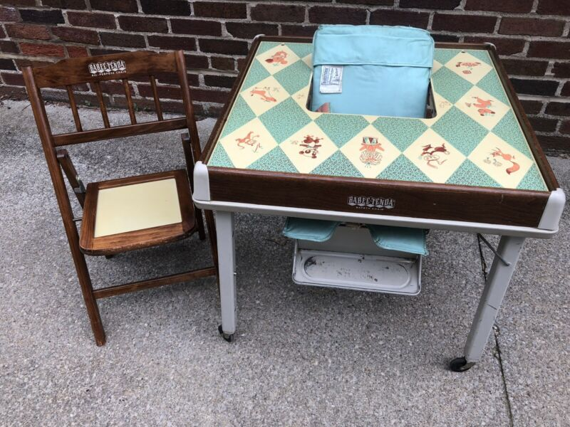 Vintage 1949 COMPLETE Babee Tenda Safety Chair Feed and Play Table Highchair