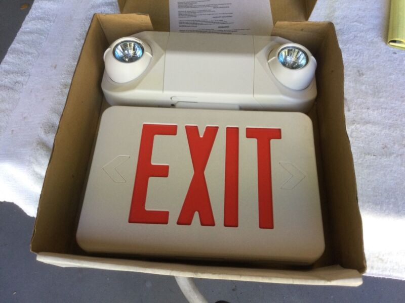 Emergency Light Exit Sign 2 Light Head RED Safety Lighting SALE!