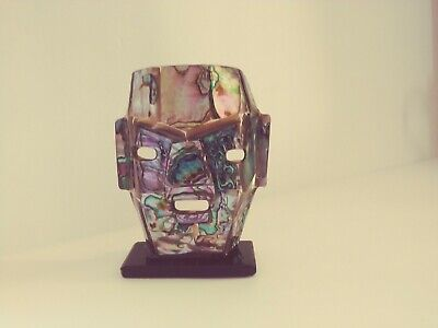 "Used, Mosiac Abalone Shell Aztec Death Mask on black base  3 5/8"" T EUC for sale  New Haven"