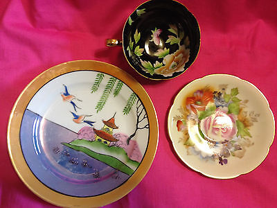 """Vintage Japanese china, 2 signed """"occupied Japan"""", very nice and rare,3 pieces"""