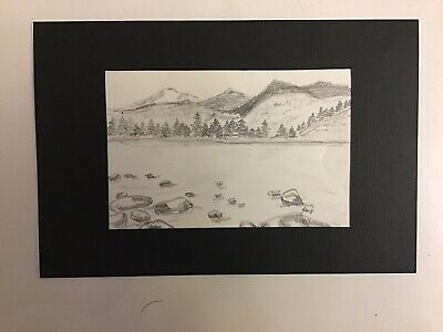 Pencil Sketch of River and Mountains II