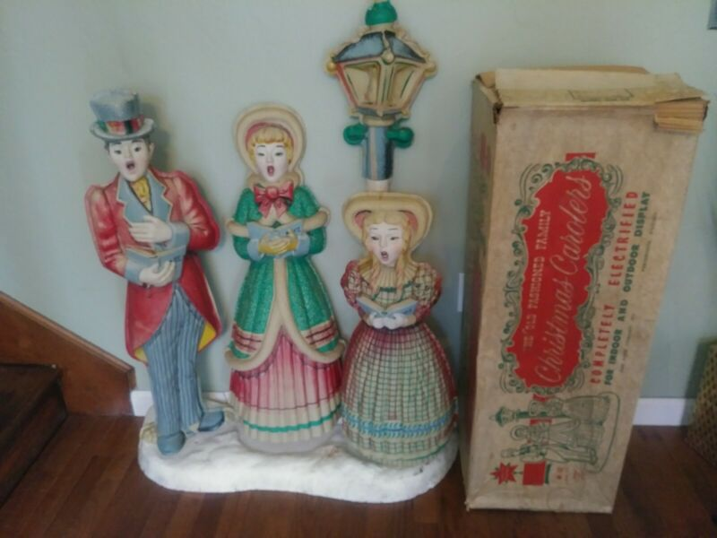 SUPER RARE 1940S STAR BAND VACUUM FORMED BLOW MOLD CAROLERS DISPLAY IOB SALE!