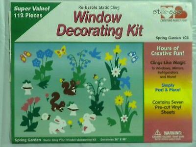 Stik-EES Spring Garden bunnies flowers butterflies + Window Clings Reusable NEW