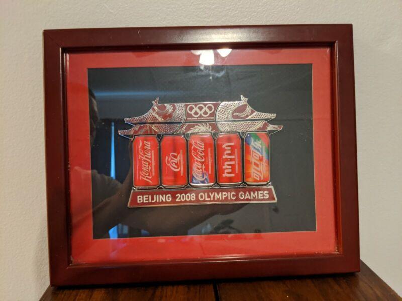 Beijing 2008 Olympics Coca Cola Pins ~~RARE~~ Collector Set + Nice Frame