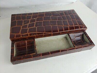 Excellent leather desk set / box - made in Spain, vintage