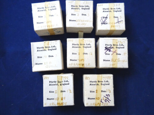 8 VINTAGE EMPTY HARDY CARD FISHING FLY RETAIL BOXES