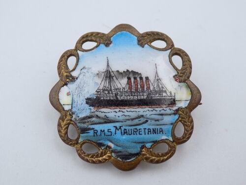 Vintage Pre-WWII Cunard-White Star Line RMS Mauretania Porcelain Badge