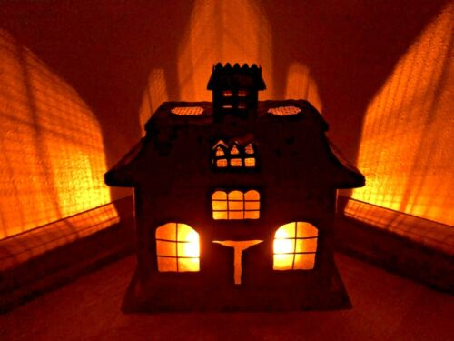 Large Halloween Spooky Haunted House Black Metal 2 tealight Candle Holder Lamp