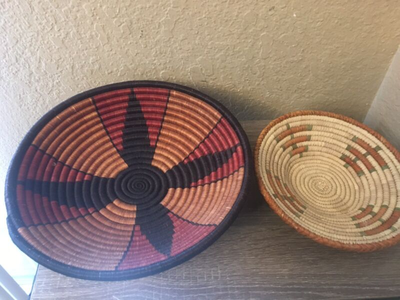 """2 Hand Woven West African Basket Trays 11"""" & 8"""" Nice!"""