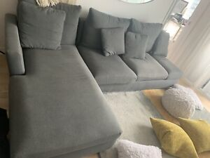 Grey L shaped couch for sale