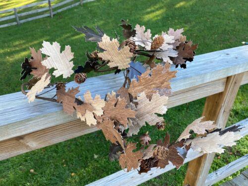 Crate & Barrel Paper Oak Leaf Garland  6Ft. Autumn Fall Nature Leaves Wreath