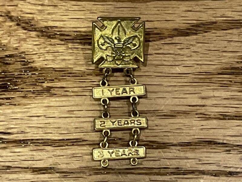 Vintage Boy Scout Perfect Attendance Ladder Pin Bar Award Years 1,2,3 Year BSA