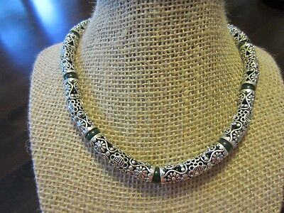 """RARE Antique? Chinese 925 Sterling Signed Filigree Tube Jade Necklace Choker 16"""""""