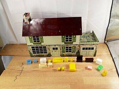 Vintage Marx Tin Litho Metal Dollhouse Doll House Disney with Furniture