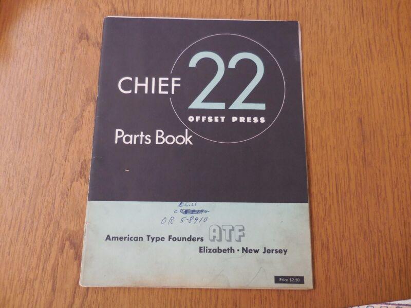 Chief 22 Offset Press Parts Manual