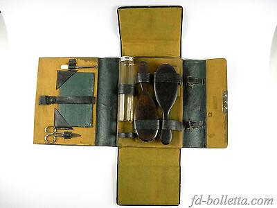 Beauty case antico set da viaggio valigetta vintage vecchio cartone stoffa a22