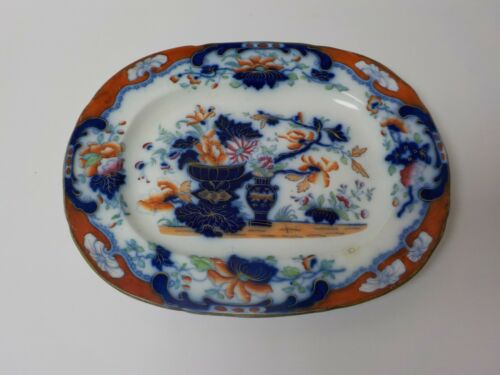 "Flow Blue Polychrom New Stone Transferware Ironstone 13.25"" Platter, c. 1830"