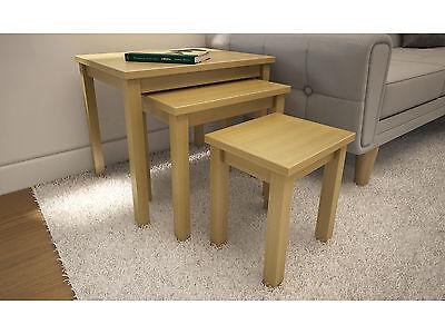 Oakwood Nest of 3 Tables in Oak Colour - Living Room Side Tables - Wood Veneer