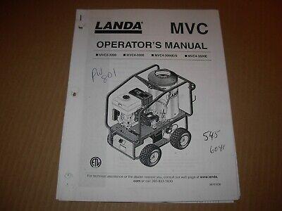 Landa Mvc3-3000 Mvc4-3000 Mvc43000es Mvc4-3500 Pressure Washer Operators Manual