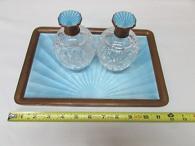 Guilloche Enamel Art Deco Dresser Perfume Set Crystal Blue Bottle Vanity Pyramid