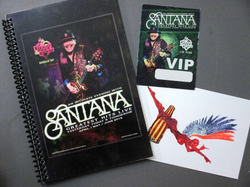 Santana Itinerary Book 36 pages Full Color, satin backstage pass & Sticker 2012!