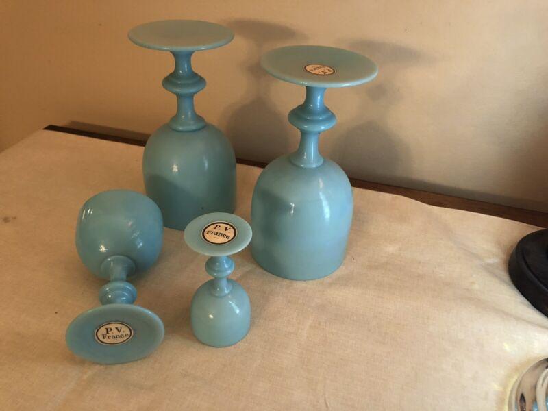 4 Antique P.V. FRANCE BLUE OPALINE MILK GLASS GOBLETS Portieux Vallerysthal