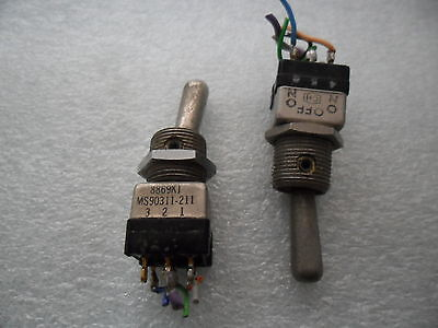 2x Aircraft Eaton 8869k1 Miniature Toggle Switch On-off-on Two Pole Ms90311-211