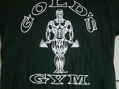 Golds Gym Body Builder Athletic Workout Green T Shirt Adult Size M