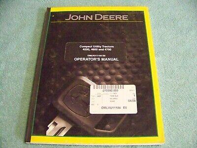 John Deere 4500 4600 4700 Compact Utility Tractor Operators Manual Omlvu11184