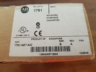 New Allen Bradley Micrologix And Slc Communication Adaptor 1761-net-aic Ser. B