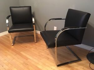 Mid century modern cantilever polished steel and leather chairs