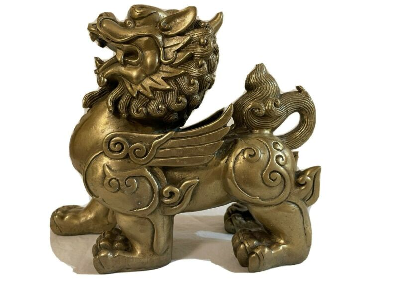 Heavy Vintage Chinese Brass Kylin (Qilin) Statue