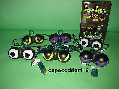2 Sets Halloween Lights Peep N Peepers Outdor Bushes Party Spooky Evil Eyeballs  - Peep N Peepers