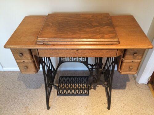 Antique Singer Sewing Machine Model 66 - Vintage Mfg.1919 - Tiger Oak Cabinet