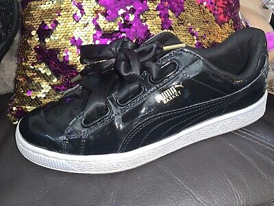 Puma Basket Heart Patent Black Women's Trainers Size Uk 7