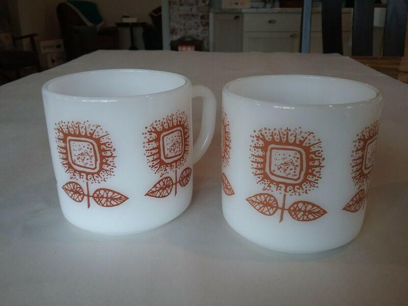 "2 Vintage Federal Glass FEG21 Milk Glass Brown Flowers 3.125"" Dia. x 3.125"" Mugs"