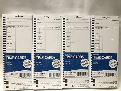 Pyramid 44100-10 Time Card Qty 400 4x100 For Use W 4000 5000 Series 4 Packs