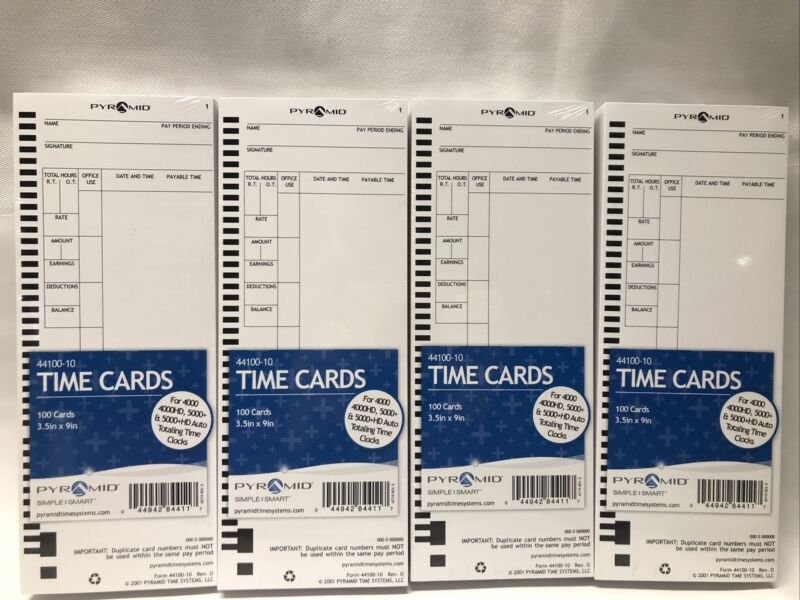 PYRAMID 44100-10 TIME CARD QTY 400 (4X100) FOR USE W/ 4000 & 5000 Series 4 PACKS
