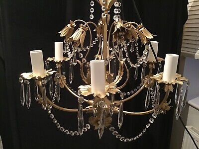 VINTAGE GOLD COLOURED METAL CHANDELIER 6 ARMS WITH LOADS OF QUALITY CRYSTALS.
