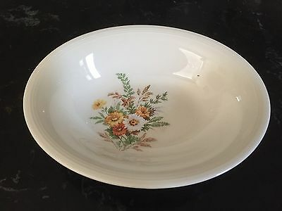 "Vintage Floral Edwin M Knowles 9-1/2"" Oval Serving Bowl - Wild Flowers"