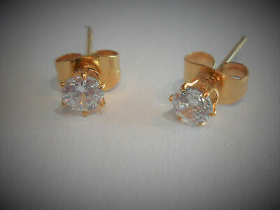 18k Yellow Gold Plated Crystal Gem Earring Studs Posts Ear Cartilage 20 gauge ()
